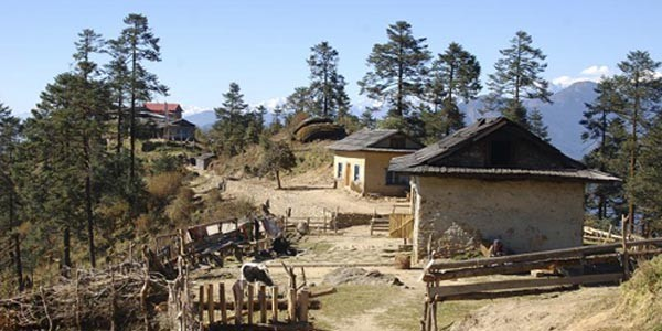 village sur le trek Pike hill dans la region du Khumbu